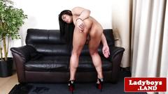 Teen ladyboy strips and strokes her big cock