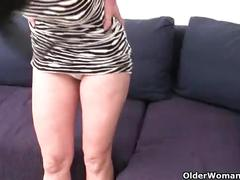 Granny hides a full bush in her soaked panties