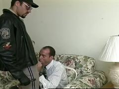 Two cops get to suck two horny businessman