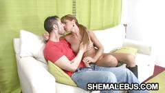 Melina - horny shemale overjoyed by a big cock