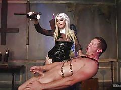 ladyboy, tranny, bdsm, domination, blowjob, tied, blonde, wax torture, ts seduction, kink, aubrey kate, pierce paris