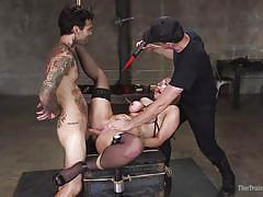 Bound slave is gagged and fucked