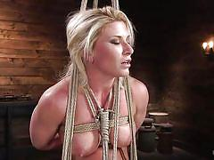 milf, blonde, bdsm, big tits, flexible, vibrator, breast bondage, suspended, electric wand, rope bondage, hogtied, kink, ariel x, the pope