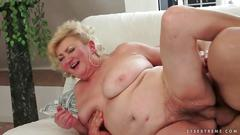 Young man fucks busty fat grandma