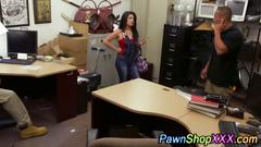 Babe gets her tits out to pay at the pawn shop