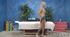 Blonde horny customer wants a pussy massage