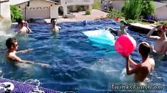 Young boys kissing gay pool party bareback boys