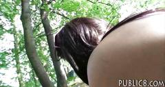 Sun tanning eurobabe drilled in the woods for alot of money
