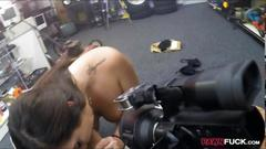 College babe goes to the pawnshop and fuck hard