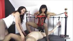 Busty nylon lesbians use slave to worship feet and lick pussy as they tease his cock