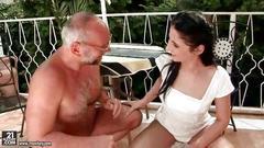 grandpa, outdoor, pissing