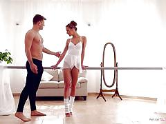 petite, babe, big cock, blowjob, flexible, pussy licking, ballerina, from behind, dance studio, standing sex, petite ballerinas fucked, nubiles porn, alexis crystal