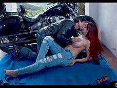 babe, redhead, outdoor, big boobs, kissing, biker, cock sucking, boobs sucking, motorbike, erotica x, tommy gunn, skyla novea