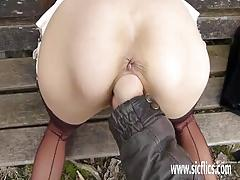 Hard fisting his hot wife at a public park