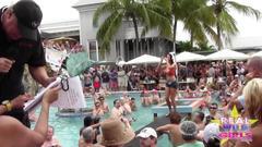 babe, party, public, naked, flashing, girl next door, pool