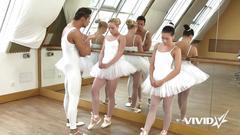 Vivid.com - 3 slutty ballerinas get on their knees to suck the instructor