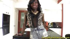 Tall ebony tranny shows us her huge dong