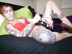 Tattooed girl in red lingerie gets pussy creamy