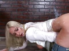 Sales lady gets covered in cum