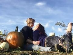 Lesbians flash in public pumpkin patch makeout