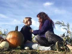Lesbians flash in public pumpkin patch makeout