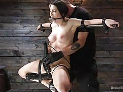 bdsm, babe, vibrator, fingering, breath play, mouth gag, metal bondage, immobilized, device bondage, kink, serena blair, the pope