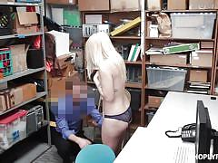 blonde, babe, caught, blowjob, spy cam, thief, caught stealing, shoplyfter, carmen callaway