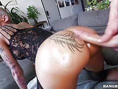 milf, blonde, big ass, big cock, blowjob, bubble butt, from behind, tattoed, oily ass, ass parade, bangbros network, bella bellz