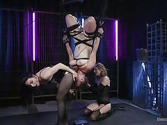 milf, blonde, threesome, bondage, bdsm, lesbians, ass licking, pussy licking, electro, lezdom, suspended, upside down, electro sluts, kink, veruca james, bella rossi, mona wales