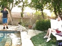 Slutty teen was fucked by the pool boy and made her pregnent by mistake