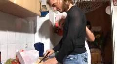 Blond german mature sex in the kitchen