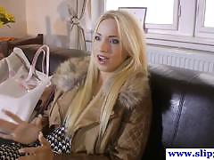 Hot blonde babe kiara rides hard fat cock deeply