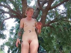 amateur, blonde, masturbation, small tits, masturbate, petite, outdoors, nature, outside, tattoos, butt plug, orgasm