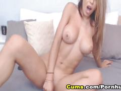 Naughty babe sucks dildo then fuck her pussy