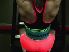 Thai female kickboxer back training