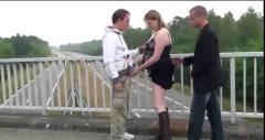 Pregnant 3some in public 2