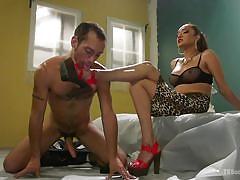 Pervert worships shemale's legs and feet