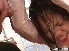 Sexy piss drinking asian is bound and fiercely fucked