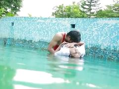 Uma devi romance in swimming pool