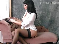 Spicy babe nylon stockings and leather gloves fetish