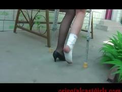 fetish, sprain, bandage, pantyhose, nylon, stockings, hurt foot, crutches, foot fetish
