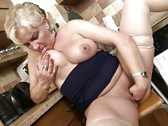 milf, blonde, big ass, big tits, solo, masturbation, kitchen, bbw, mature nl, milena v.