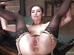 Babe learns the joys of bound fucking