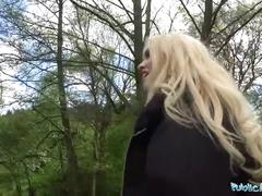 Public agent hot blonde student fucked doggy style in forest for cash
