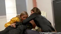 Blonde glam girl sucks a young guys dick in tandem