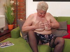 Fat mature cums so hard from masturbation