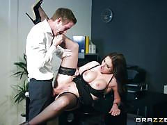 Sexy brunette getting fucked in the office