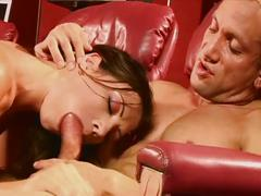 babe, blowjob, brunette, hardcore, beauty, brown hair, cowgirl, deepthroat, doggy style, face fucking, missionary