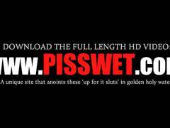 Piss lover sex slave in latex cunt spread in bdsm scene