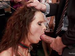 Slave gets cock and dildo in her mouth